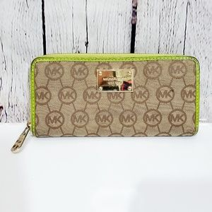 Michael kors signature MK  canvas green wallet